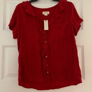 Red short sleeve button up blouse by Maeve anthro